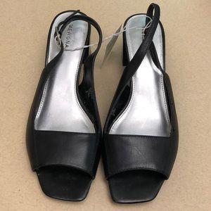 "Merona black leather comfy 2 1/4"" heels"